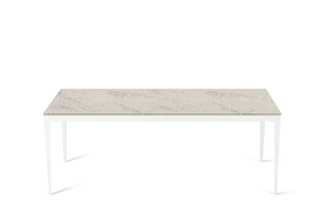 Noble Grey Long Dining Table Pearl White