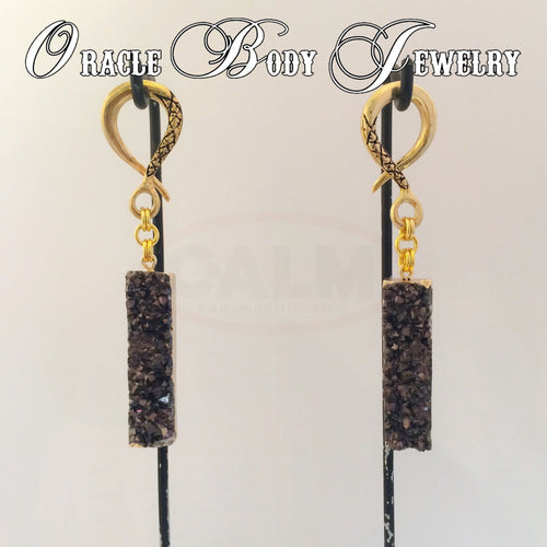 Gold Plated Druzy Dangle (Black)