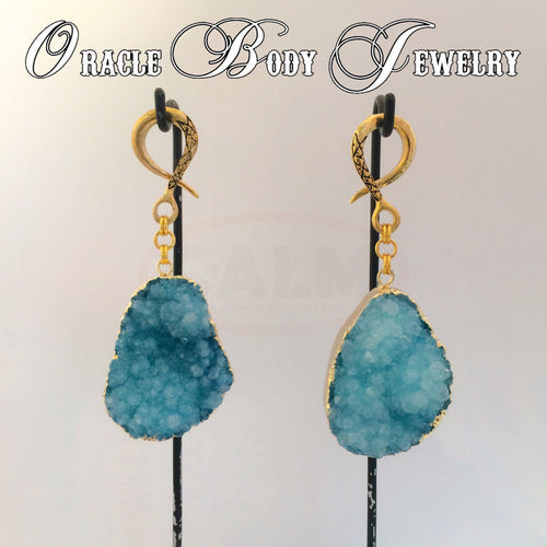 Gold Plated Druzy Dangle (Lagoon)