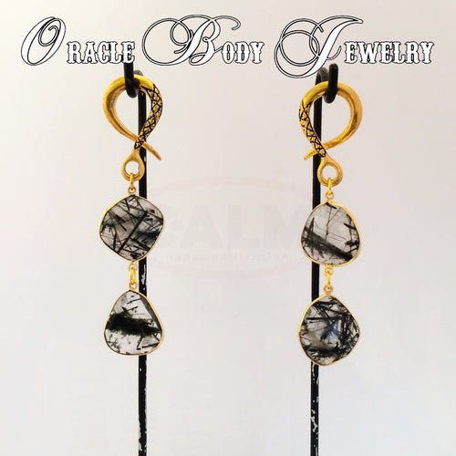 Double Gold Plate Tourmalated Quartz Dangle