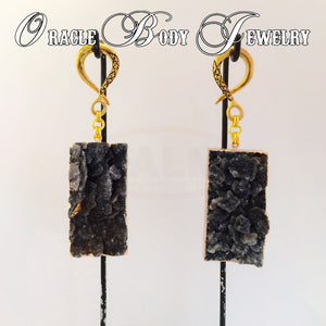 Big Gold Plated Druzy Dangle (Black)
