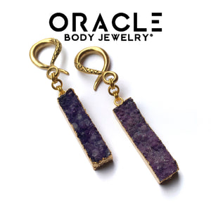 Gold Plated Druzy Dangle (Amethyst)