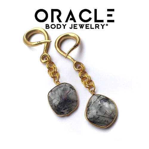 Gold Plate Tourmalated Quartz Dangle