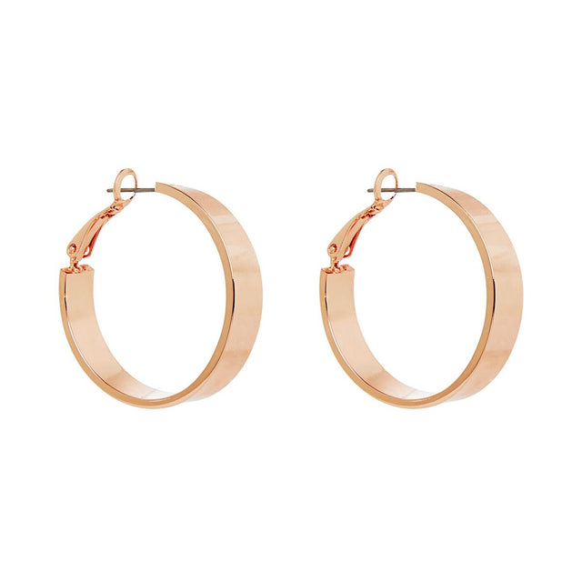 Elise Flat Edge Hoop Rose Gold