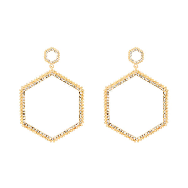 Sasha Hexagon Hoop Gold