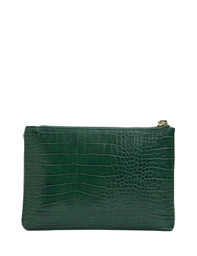 Sage Zip Clutch Green