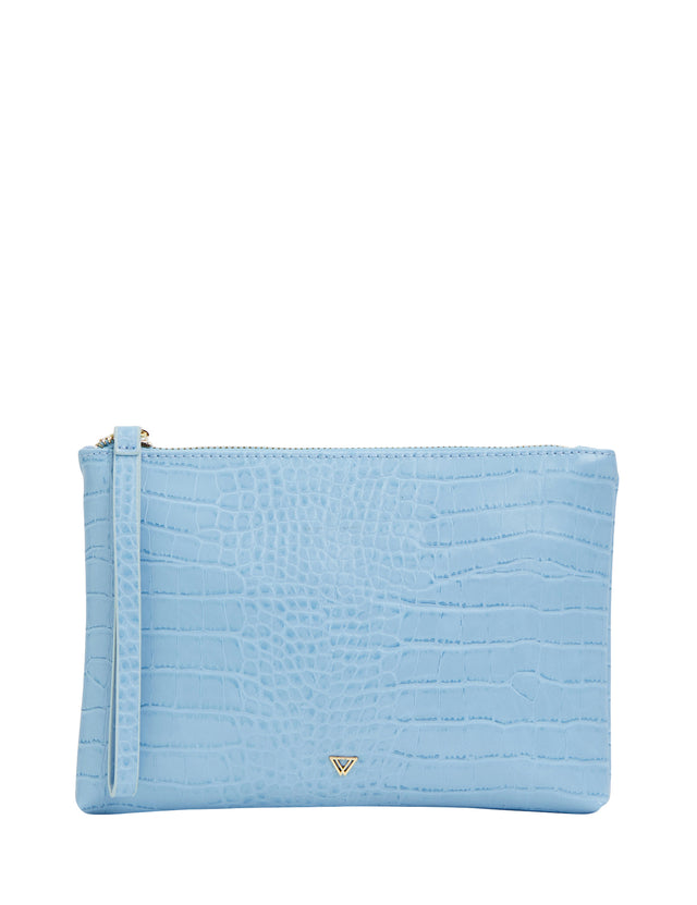 Sage Zip Clutch Blue