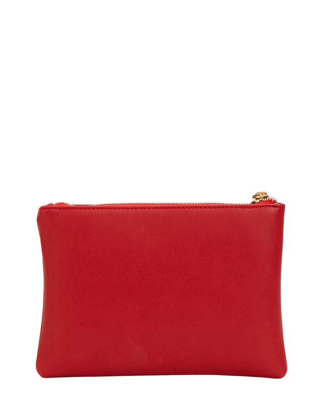 Sage Zip Clutch Red