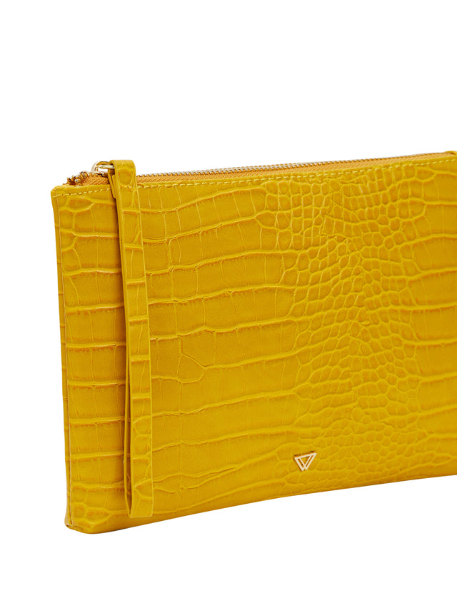 Sage Zip Clutch Yellow
