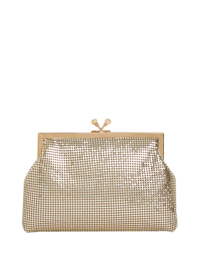 Kailia Mesh Clutch Gold