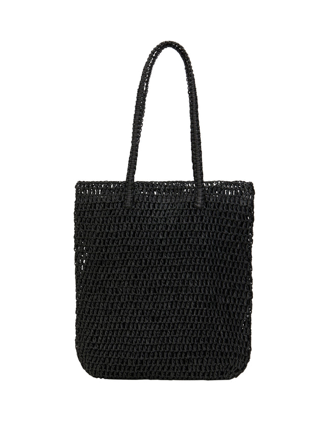 Demi Paper Straw Tote Black