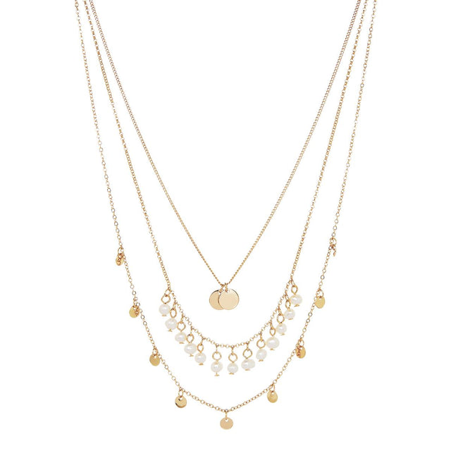 Shelby Layered Midi Necklace Pearl