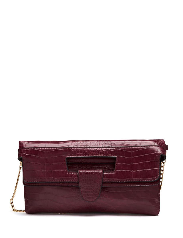 Nicky Mock Croc Clutch Berry