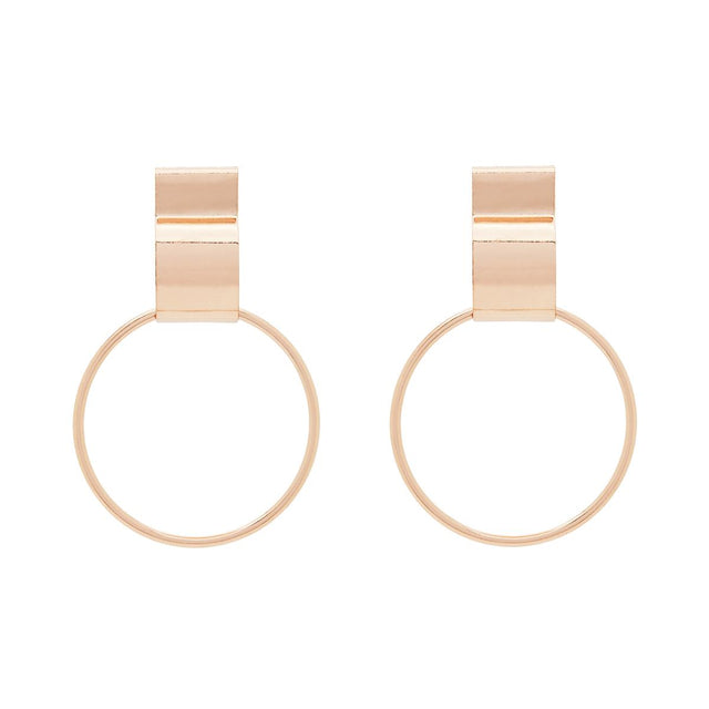Hayden Drop Hoop Rose Gold