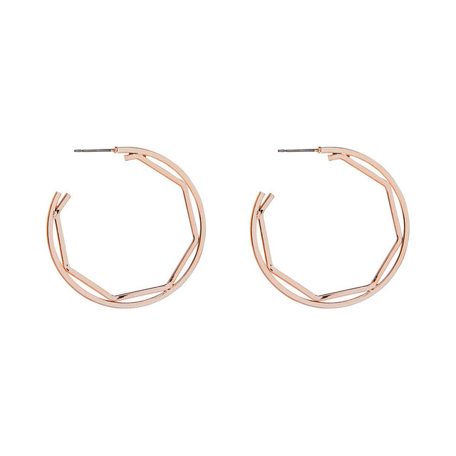 Lauren Geometric Hoop Rose Gold