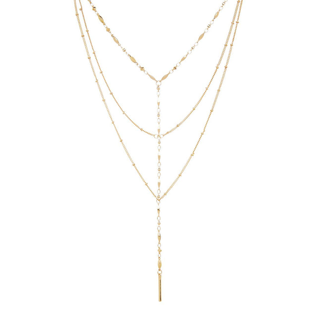 Angelica Layered Long Necklace Gold