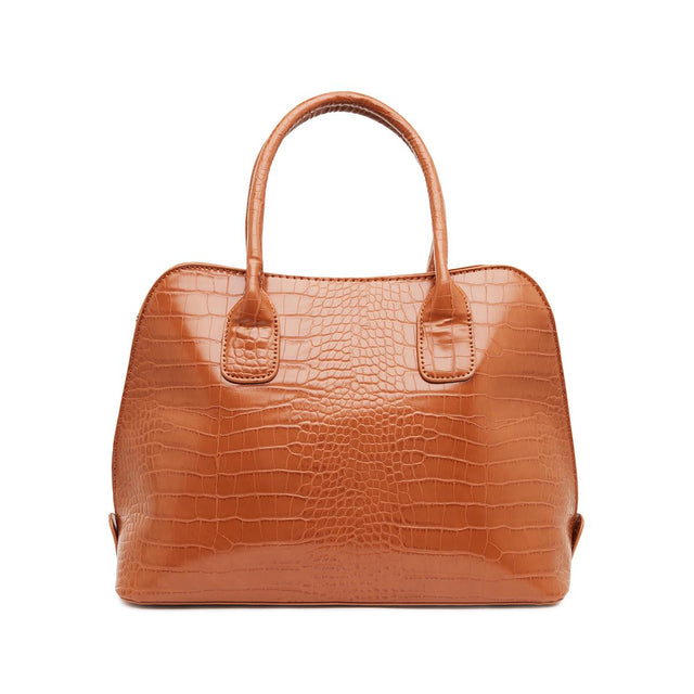 Elena Mock Croc Tote Bag - Brown