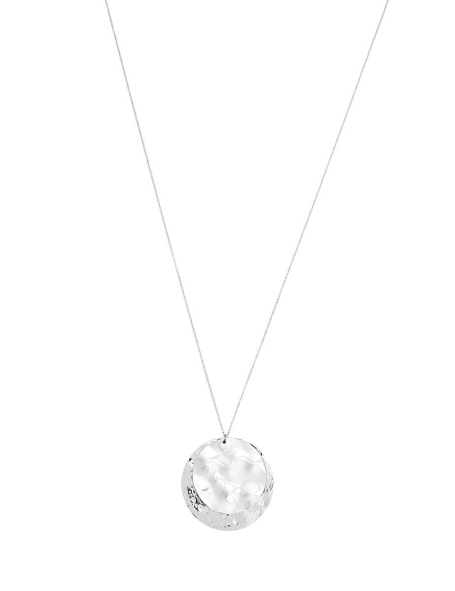 Venus Disc Long Necklace Silver