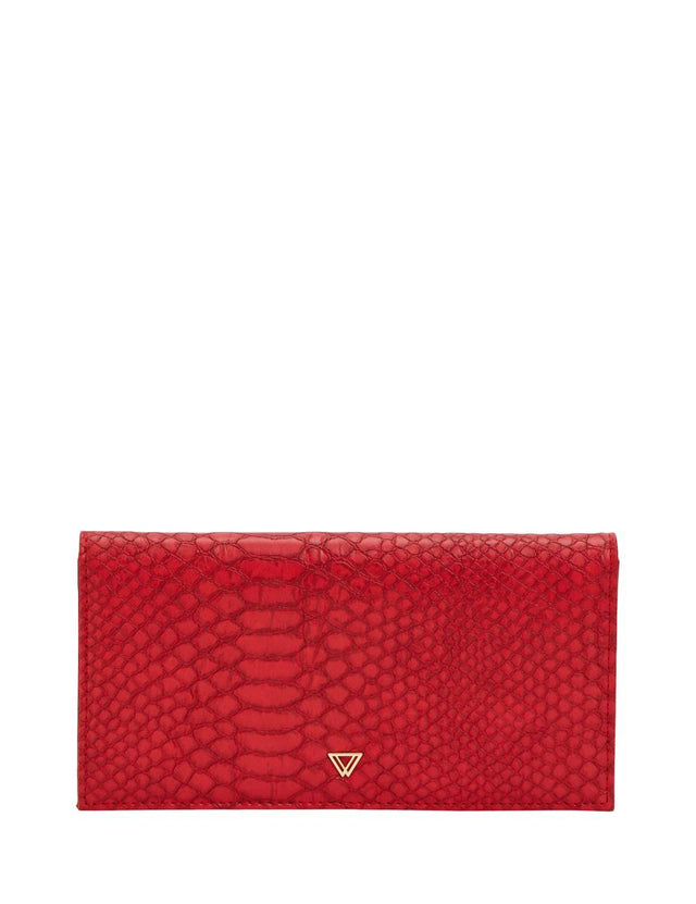 Libby Foldover Wallet Red Python