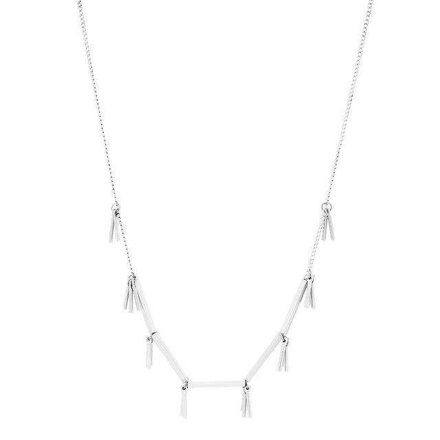 Nyla Fringe Short Necklace Silver