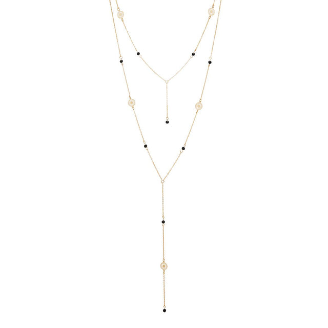 Delphina Layered Long Necklace Black