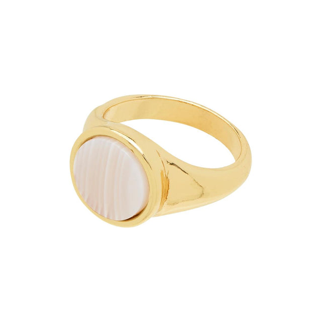 Kaia Pearlescent Statement Ring White