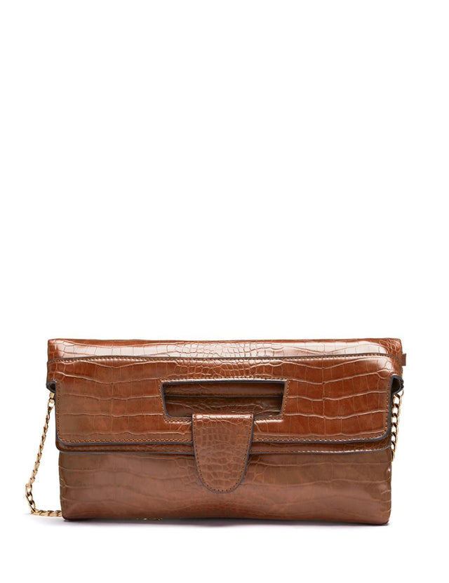 Nicky Mock Croc Clutch Brown