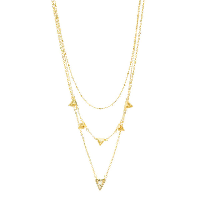 Jessie Layered Necklace Crystal