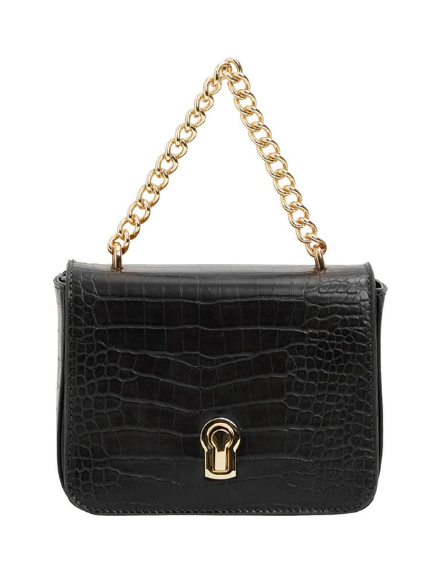 Budapest Mock Croc Cross Body Black