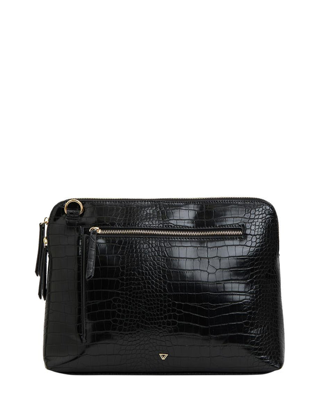 Thea Cross Body Tech Black Croc