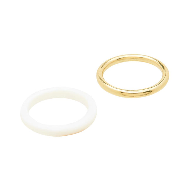 Norah Twin Band Ring White