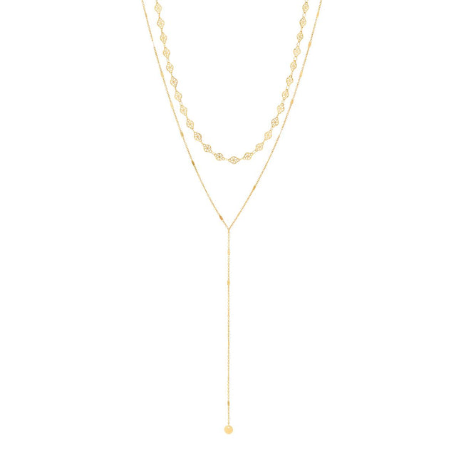Beverly Drop Long Necklace Gold