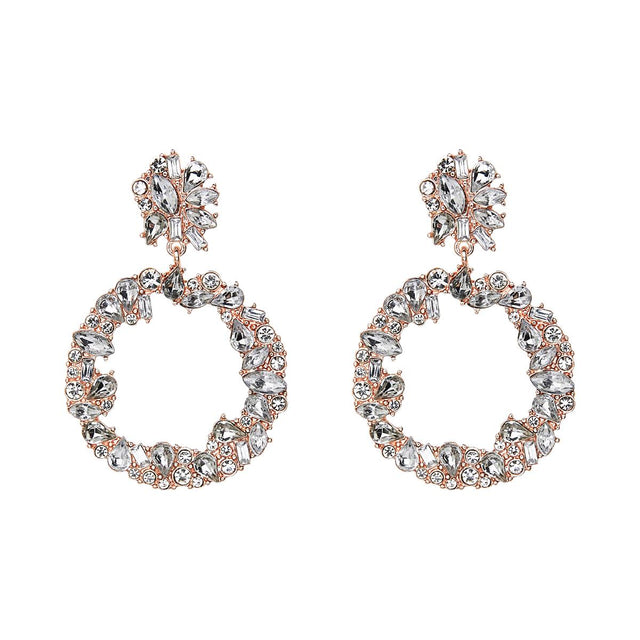 Sonia Drop Earring Crystal Rose Gold