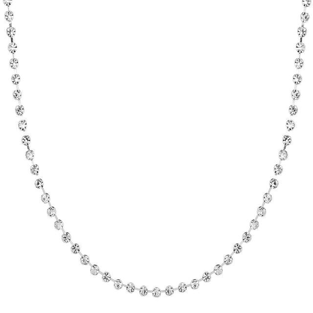 Aubrie Short Necklace Crystal Silver