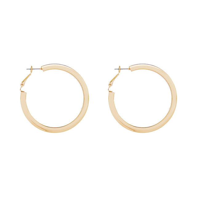 Kate Flat Edge Hoop Gold