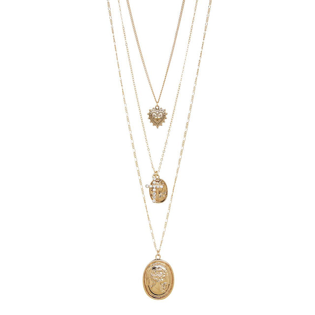 Milani Layered Long Necklace Antique Gold