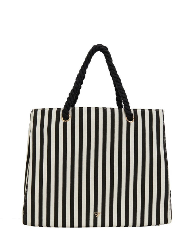 Bridie Overnight Weekender Black Stripe