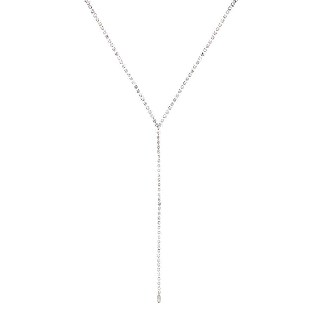 Callie Long Necklace Crystal Silver