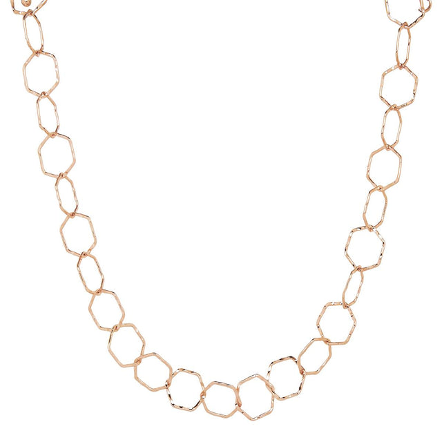 Leia Hexagon Short Necklace Rose Gold