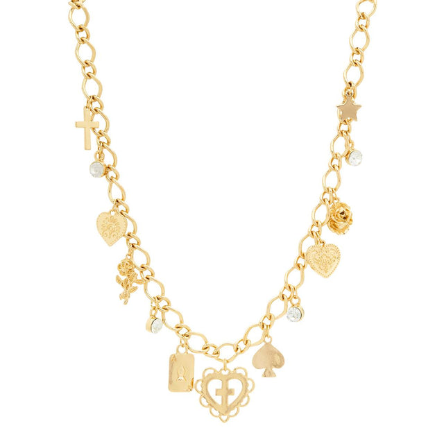 Beatrice Charm Necklace Gold