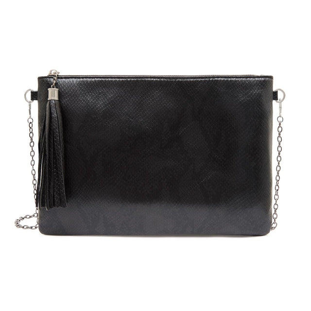 Tara Slim Purse Black Python