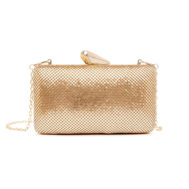 Naomi Mesh Clutch Metallic Gold