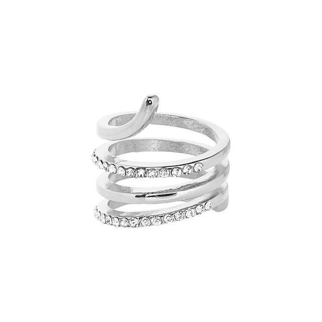 Ingrid Cocktail Ring Crystal Silver
