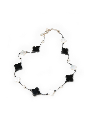 Margo Morrison Mother of Pearl & Black Agate Clover Necklace with Freshwater Pearls 17""