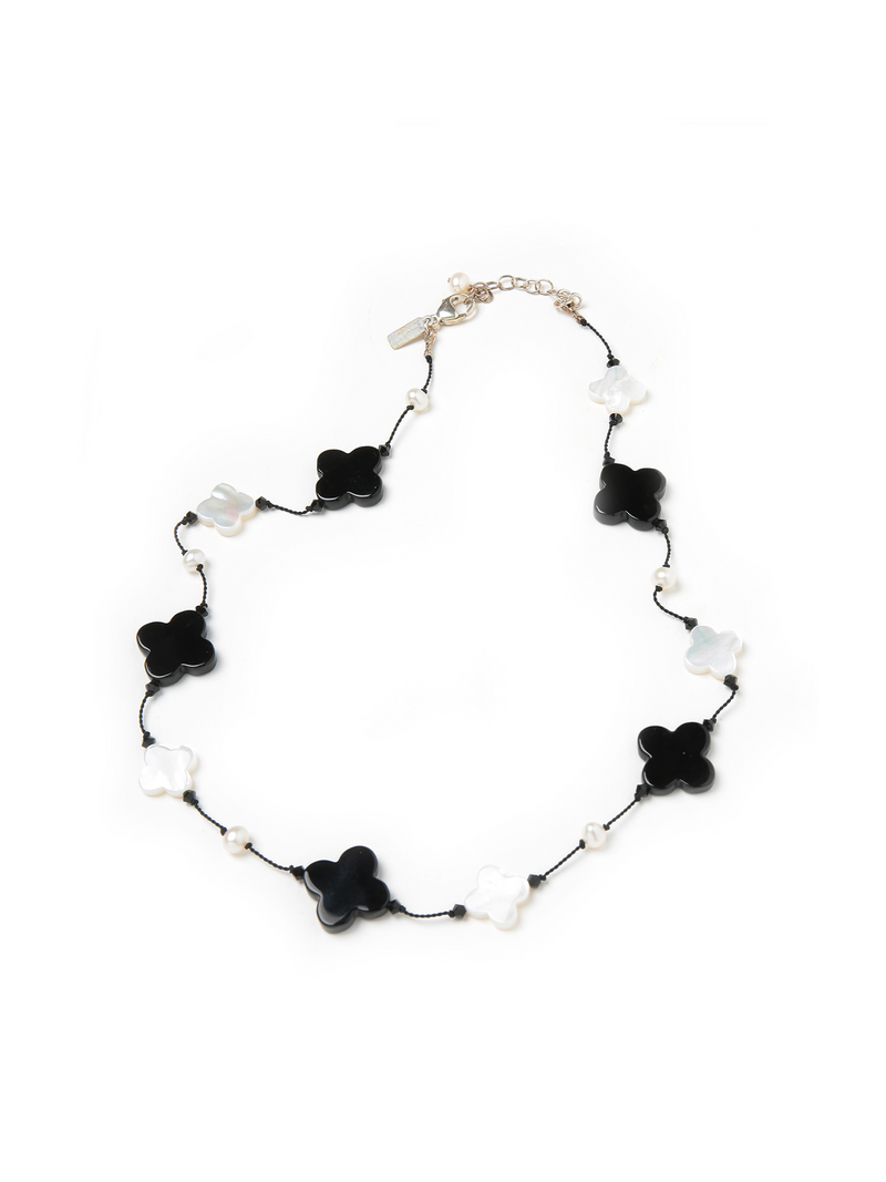 Margo Morrison Mother of Pearl & Black Agate Clover Necklace with Freshwater Pearls 17