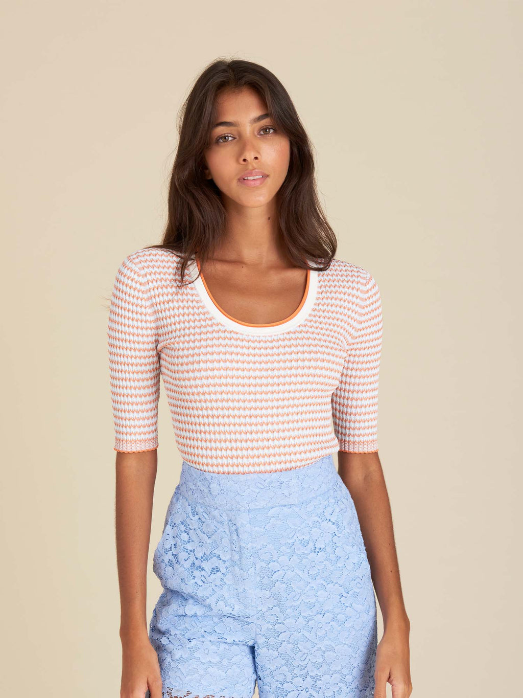 Veronica Beard Dany Short Sleeved Pullover