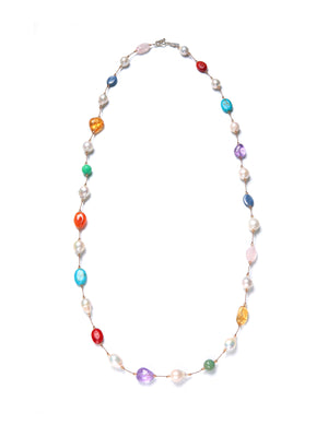 Margo Morrison Small Multi-Coloured Stone & Baroque Pearl Swarovski Necklace Sterling Silver