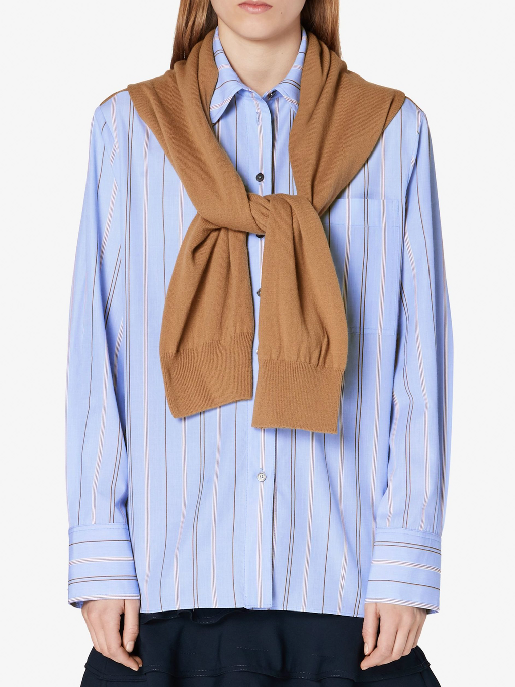 Derek Lam 10 Crosby Long Sleeve Button Down with Scarf