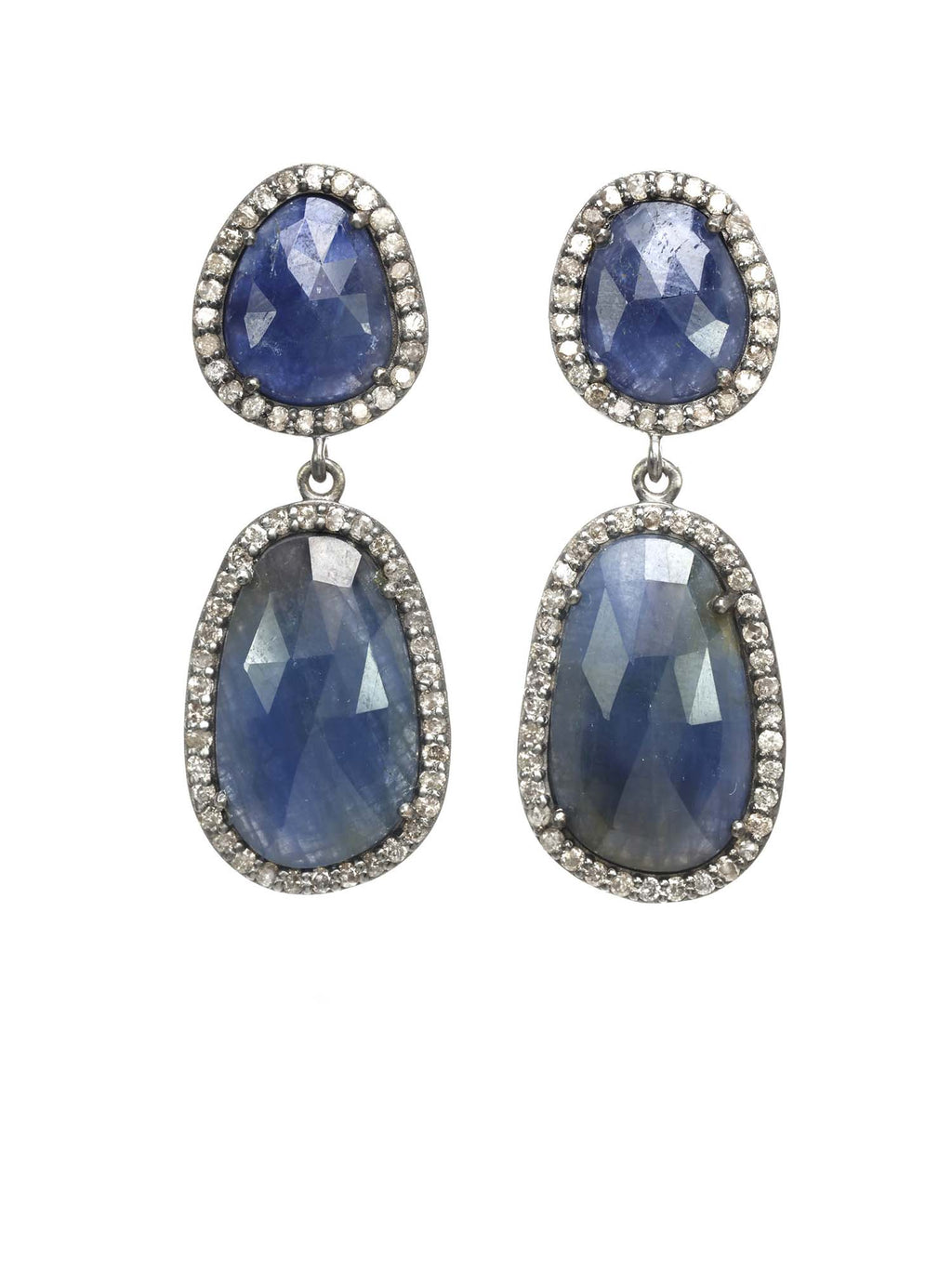 Margo Morrison Faceted Sapphire and Diamond Gem Drop Earrings
