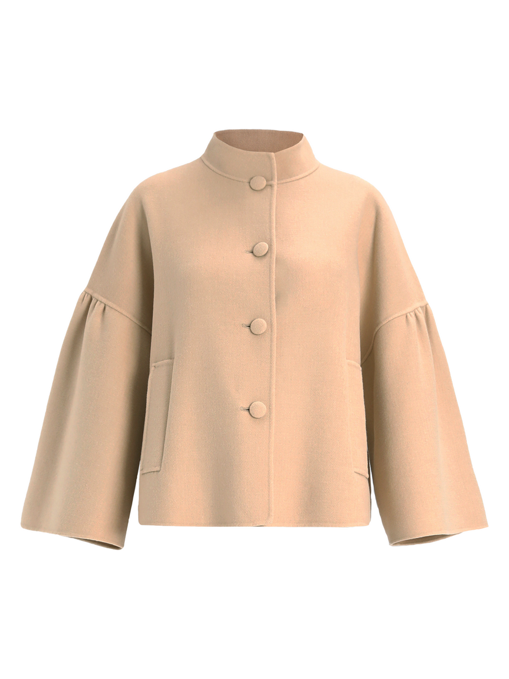 Max Mara Weekend Mandarin Collar Wool Jacket with Bell Sleeves